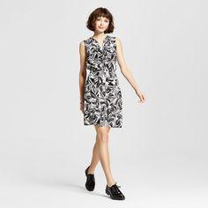 Women's Pattern Sleeveless Shirt Dress with Piping Black Leaves Xxl - Mossimo