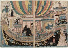 Ship made of glass  「ギヤマン船」  Japanese, Edo period  Artist Utagawa Kuniyoshi, Japanese, 1797–1861, Woodblock print (nishiki-e); ink and color on paper, MFA