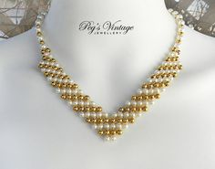 VINTAGE White And Gold Small Faux Pearl by PegsVintageShop on Etsy