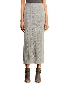 Lauren Ralph Lauren Cable-Knit Wool Skirt Women's Concrete Large