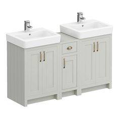 SHOP the Chartsworth Traditional Grey Double Basin Vanity + Cupboard Combination Unit at Victorian Plumbing UK Bathroom Sink Vanity Units, Bathroom Plans, Bathroom Layout, Bathroom Renovations, Combination Vanity Units, Bathroom Store, Family Bathroom, Grey Cupboards, Small Space Bedroom