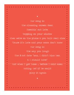 Printable Taylor Swift Our Song lyrics 85 x 11 2 Color by laurkon, $7.00