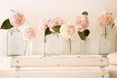 peonies in mason jars