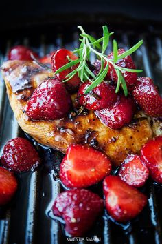 Grilled Chicken Fillets with Strawberry Rosemary Balsamic Sauce Recipe