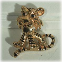 Jomaz Tiger Pin Mazer Tiger Pin Figural Brooch by JunkboxTreasures