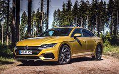 Lataa kuva Volkswagen Arteon, offroad, 2018 autoja, metsä, keltainen arteon, saksan autoja, Volkswagen