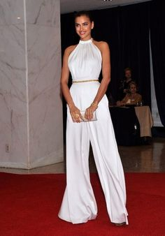 c280b09ec62 Irina Shayk takes a cue from Rose Byrne s Oscar look and rocks a white  jumpsuit White