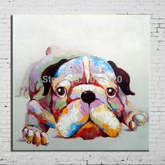Pop Art Hot Sell Painting Dog Oil Painting On Canvas Handpainted Lovely Animal Paintings For Living Room Home Decorations