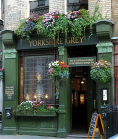 Yorkshire Grey English Tavern and their window flower & garden boxes.  Nice curb appeal.
