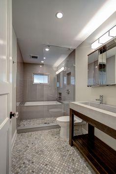 Long Narrow Bathroom Layout New 19 Narrow Bathroom Designs that Everyone Need to See Bathroom Tub Shower, Tub Shower Combo, Bathroom Renos, Grey Bathrooms, Bathroom Layout, Bathroom Interior Design, Bathroom Designs, Bathroom Ideas, Rain Shower