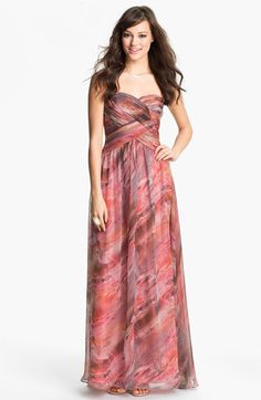 JS Boutique Strapless Print Chiffon Gown available at Nordstrom  Haha, I love this, and it's multicolor, but not sure if it's the best choice