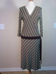1970s Brown & Mint Green Diagonal Stripe Drop by PapasAtticVintage, $28.00