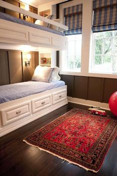 Boys' bunk room, like the wall color, bed lights, window treatments, rugs and storage Bunk Bed Wall, Bunk Beds Built In, Kids Bunk Beds, Twin Beds, Wooden Wall Design, Deco Marine, Bunk Rooms, Bed Lights, Beautiful Bedrooms