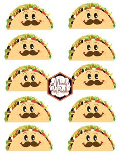 Taco Printables with a Mustache and Face from a Taco Bout Love Valentine Taco Party | Mandy's Party Printables #valentineparty #tacoparty #tacoboutlove #ilovetacos #MPP #fiesta