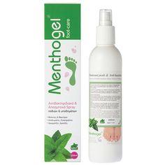 Menthogel Αποσμητικό & Αντιβακτηριδιακό Spray Ποδιών & Υποδημάτων | 250ml |   Αποτρέπει την κακοσμία των ποδιών και προστατεύει από τις μυκητιάσεις. Το εκχύλισμα μέντας  που περιέχει επιδρά καταπραϋντικά, φρεσκάρει και αρωματίζει ευχάριστα τα πόδια, προσφέροντας μοναδική αίσθηση δροσιάς και ανακούφισης. #MenthogelGreece #πόδια Feet Care, Shampoo, Soap, Bottle, Flask, Soaps, Foot Care