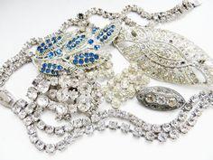 Vintage Rhinestone Jewelry Lot Destash Supplies Assemblage Upcycle Wear or Repair