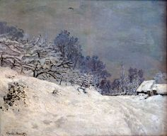 The Road in front of Saint-Simeon Farm in Winter, 1867 by Claude Monet. Impressionism. landscape