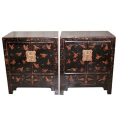 Pair of Fine Black Lacquer Chests with Gold Gilt Motif | From a unique collection of antique and modern night stands at https://www.1stdibs.com/furniture/tables/night-stands/