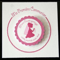 12 cartes Première Communion Fille Rose : Accessoires de maison par creerpourvous