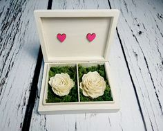 Wedding rings box vintage puzzle love wedding pillow rustic looking old moss sola flowers shabby chic off white pink hearts distressed - pinned by pin4etsy.com