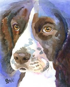 English Springer Spaniel Dog Art Print of Original by dogartstudio