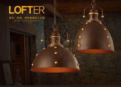 Vintage Industrial Loft Metal Shade Pendant Rust& Golden Finish Ceiling Lamp