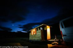 True to it's purpose of a home that can travel with you, this Tiny House is completely off-the-grid and powered through a house battery which is charged through the alternator of the towing vehicle.