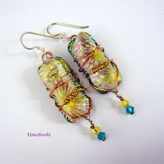 #bmecountdown Wire Wrapped Boho Handcrafted Dichroic Glass Dangle Earrings  w Swarovski Crystals