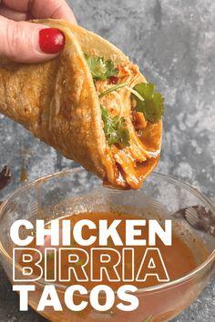 Chicken Birria Tacos - Mexican Food Recipes, Dinner Recipes, Ethnic Recipes, Mexican Dishes With Chicken, Authentic Mexican Chicken Recipes, Authentic Chicken Tacos, Recipes With Chicken, Best Chicken Taco Recipe, Mexican Chicken Tacos
