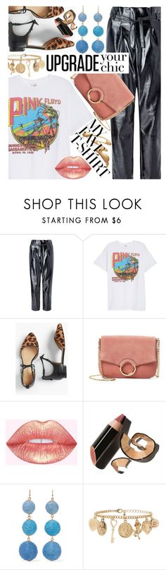 """""""Dress Up a T-Shirt - Style on a Budget"""" by maranella ❤ liked on Polyvore featuring Miss Selfridge, Junk Food Clothing, Talbots, Vince Camuto, Bobbi Brown Cosmetics, Kenneth Jay Lane, Forever 21 and MyFaveTshirt"""