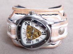 leon / Biely kožený remienok so skeleton hodinkami