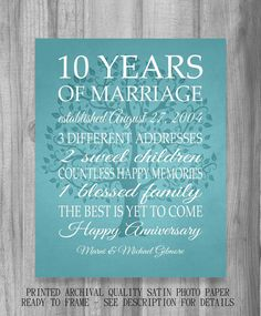 10 Year Anniversary Gift Print 5 15 20 25 Custom Years Personalized Important