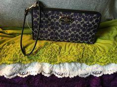 Handbag Coach Purple Multi Leather Signature Credit Card Organizer Zip Wristlet  #Doris_Daily_Deals #Bonanza www.bonanza.com/listings/458315659