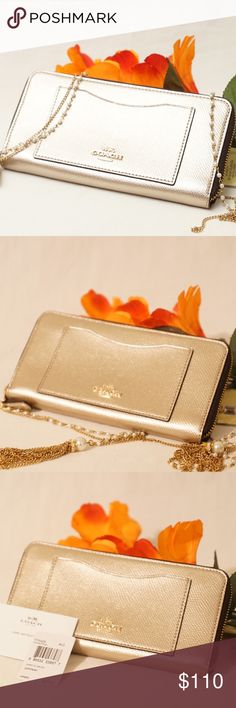 """ADORABLE COACH PLATINIUM ZIPPER WALLET Outstanding!! Beautifullycrafted with luxurioussoftleather. One of the TIMELESS Coach wallets you will surely love to have, that's for sure!   Size 8""""x4"""". Pet smoke free home.   AUTHENTIC❣️LEATHER ❣️FAST SHIPPING!❣️MAKE AN OFFER  Please see my other listings Coach Bags Wallets"""