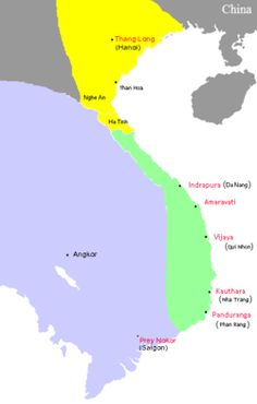 In green: The kingdom of Champa (Campadesa or nagara Campa in Cham and Cambodian inscriptions written in Devanagari as चंपा; Chăm Pa in Vietnamese, 占城 Chiêm Thành in Hán Việt and Zhàn chéng in Chinese records) was an Indianized kingdom that controlled what is now southern and central Vietnam from approximately the 7th century through to 1832. The Cham people are remnants of this kingdom. They speak Cham, a Malayo-Polynesian language. Champa reached its peak in the 9th and 10th centuries.