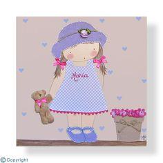 Cuadro infantil personalizado: Niña con sombrero (ref. 12009-16)