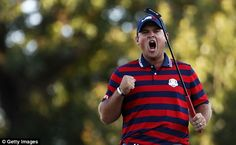 Reed rivals Rory with his golf and the passion in his celebrations  Read more: http://www.dailymail.co.uk/sport/golf/article-3816458/Ryder-Cup-2016-LIVE-standings-team-scores-golf-results-Team-USA-vs-Team-Europe.html#ixzz4Lwah4nos  Follow us: @MailOnline on Twitter | DailyMail on Facebook