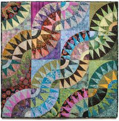 """""""Melting Pot"""" by Jana Schmitt: 'snake trails' variation of a New York Beauty quilt. Posted by Bill Volckening at Wonky World"""