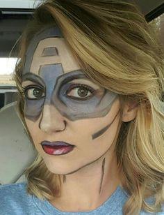 Captain America Makeup, Halloween makeup, superhero makeup, all younique products