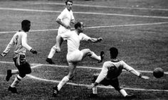 England forward Bobby Charlton shoots while surrounded by Brazilian defenders in the 1962 World Cup quarter-final. Photograph: Popperfoto