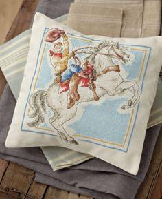 декоративная диванная подушка с вышивкой своими руками, ковбои, схема вышивки крестом, наволочка с вышивкой, подушки с вышивкой, вышивка крестом для подушек, простая и удобная цветная схема, цветовой ключ, подушка для детской