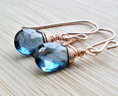 London Blue Topaz Earrings, AAA Blue Topaz Jewelry Rose Gold Blue Gemstone Jewelry Blue Earrings December Birthstone Valentine Jewelry. $92.00, via Etsy.