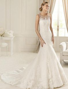 Mermaid Round Neck Sleeveless Sheer Neckline Lace Wedding Dress-wm0087, $329.95