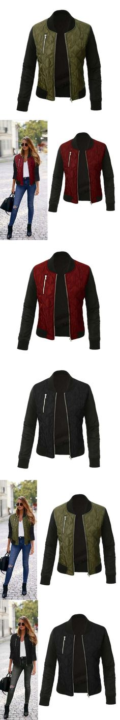Spring Autumn Women Bomber Jacket Long Sleeve Coat Casual Stand Collar Tops Outerwear