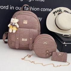 Fashion Composite Bag Pu Leather Backpack Women Cute 3 Sets Bag School  Backpacks For Teenage Girls Black Bags Letter Sac A Dos ce12fbe608052