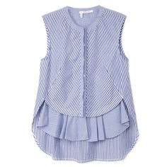 Pastel Trend: 10 Crosby Derek Lam Blue Striped Front Ruffle Top