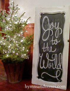 like this little (real) tree to put in a corner, also like the framed chalkboard - maybe put the names of God on the tree