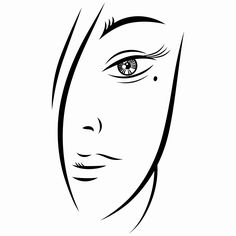 Download Free EPS Vector Illustration: Ink sketch of young woman face on white. Vector illustration clip-art design element save in 8 eps
