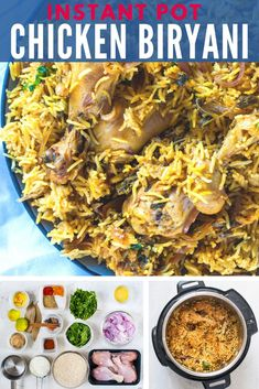 How to make Chicken Biryani in Instant Pot - One Pot Indian Rice recipe White Rice Recipes, Rice Recipes For Dinner, Instant Pot Dinner Recipes, Supper Recipes, Veggie Recipes, Indian Food Recipes, Chicken Recipes, Ethnic Recipes, Veggie Food