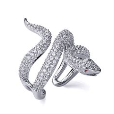 aa3af110cfd72 Double Accent   Rhodium Plated Sterling Silver Snake Design CZ Pave  Setting… Anello A Serpente